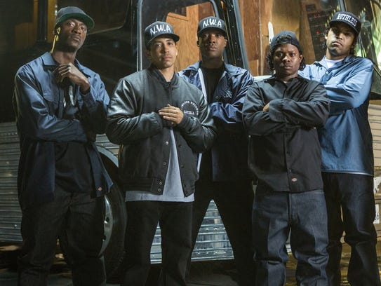 The film's own N.W.A., from left: MC Ren (Aldis Hodge),
