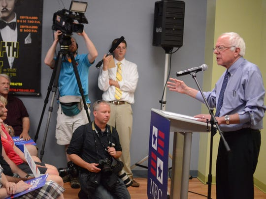 Bernie Sanders speaks at a Democratic presidential campaign event in Concord, N.H. on Wednesday.