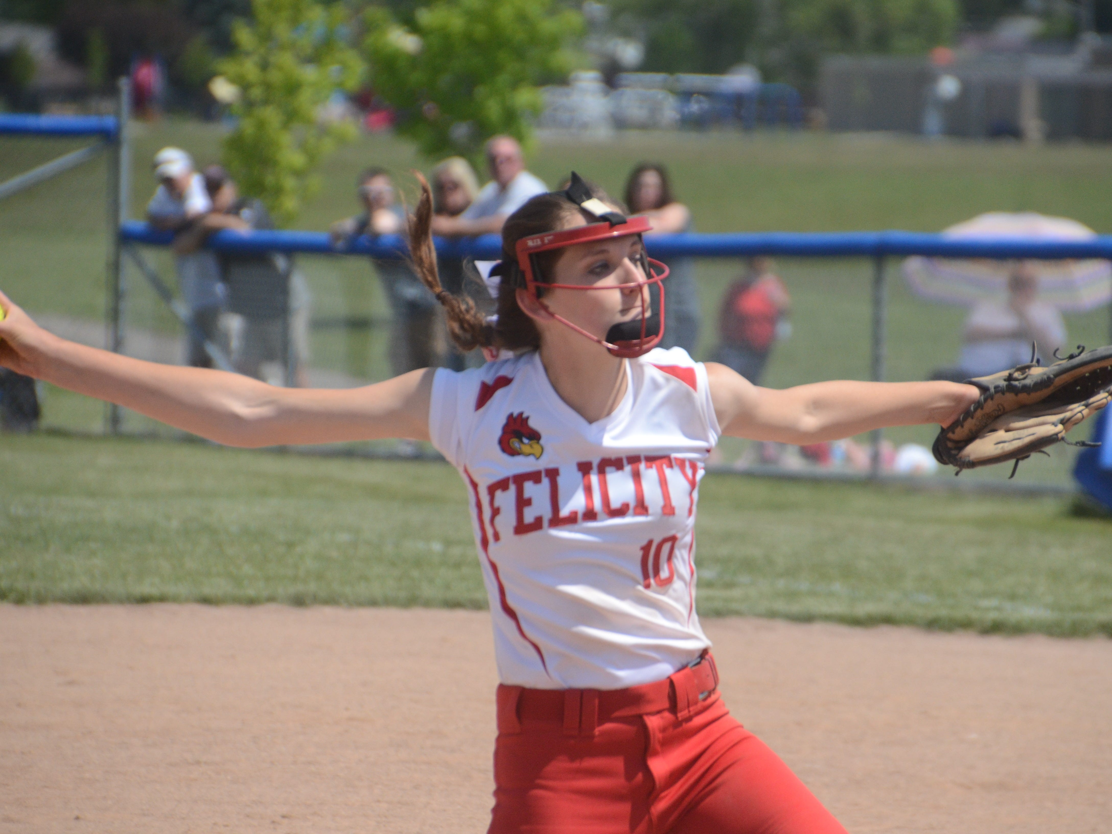 Senior Sandy Woodmansee pitches against Covington in the Division IV tournament May 23.