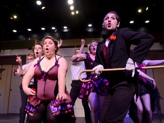 """Members of the """"Cabaret"""" cast rehearse four years ago at the Riverbank Theatre in Marine City."""