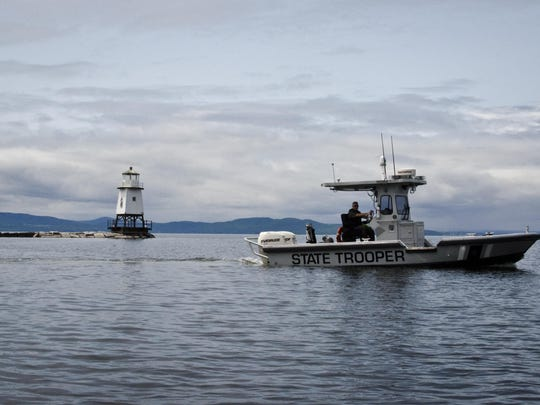 A Vermont State Police boat on Lake Champlain is used by the department for recreational boating enforcement. The state police have 26 boats used to patrol state waters.