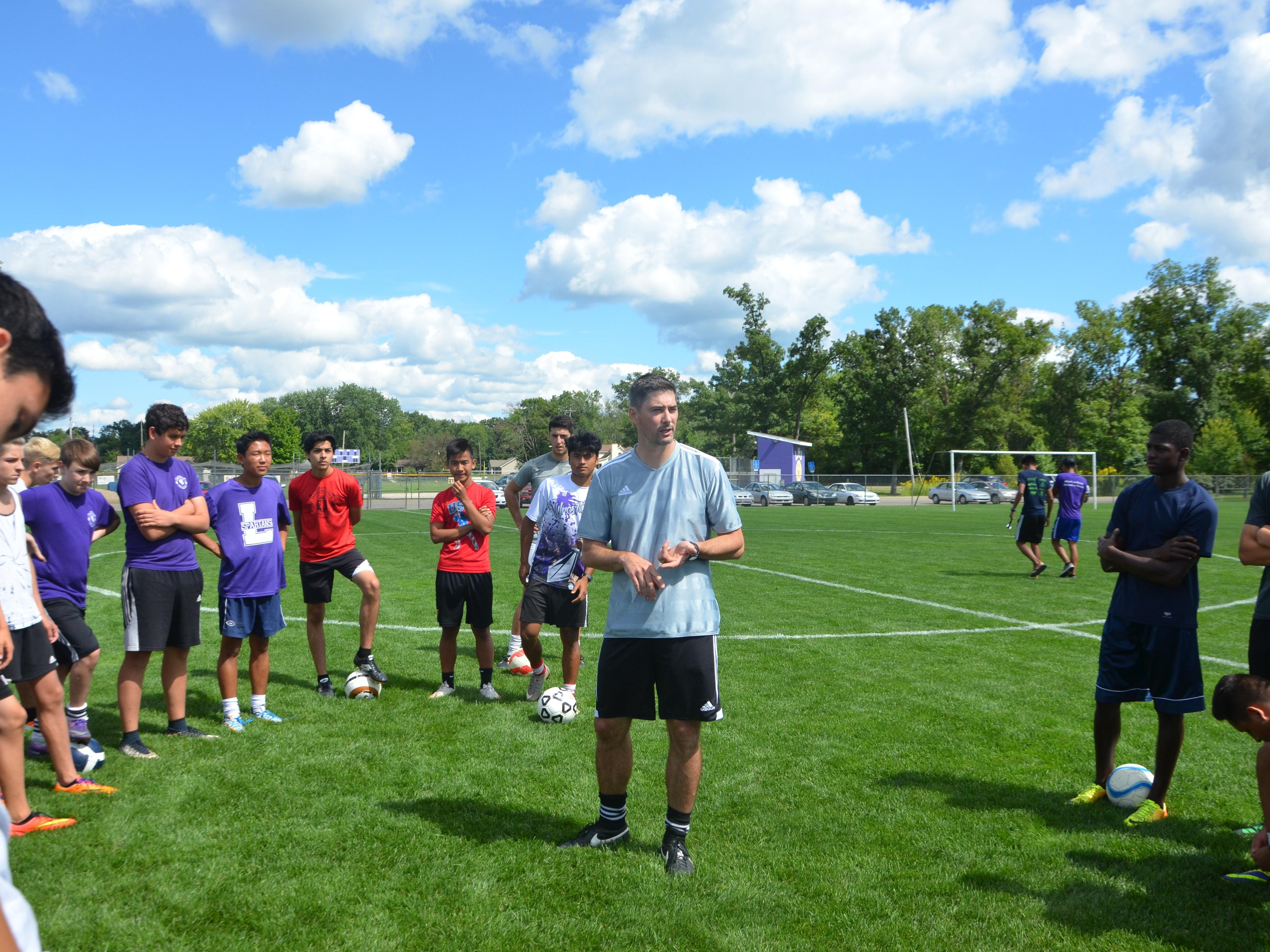 Lakeview boys' soccer coach Ciaran Byrne gives instructions during the first practice of the season on Wednesday.