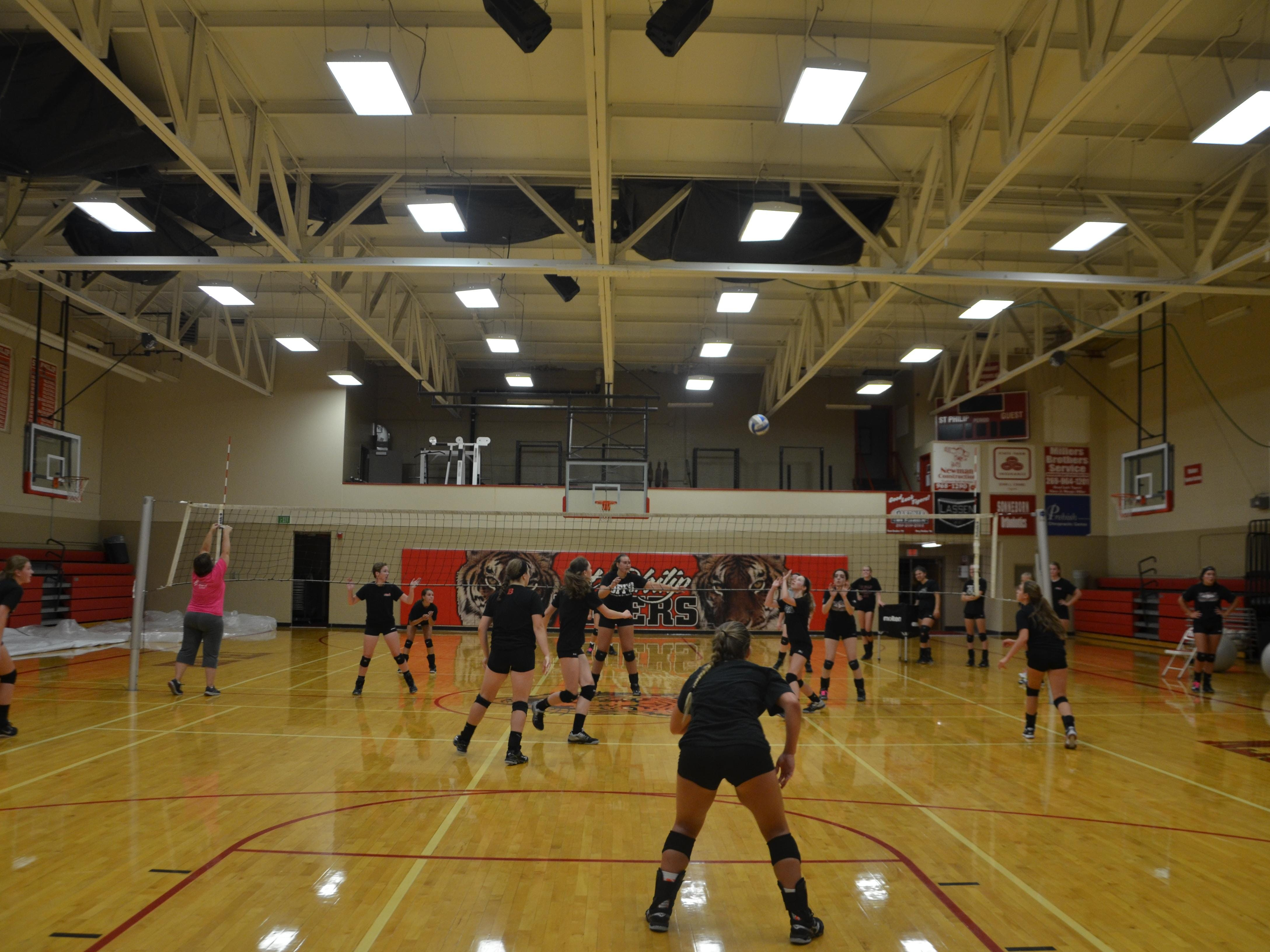 The St. Philip volleyball team scrimmages during the first practice of the season on Wednesday.