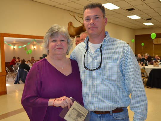 Dorothy Farrell of Millville, known as 'Babe,' and her son, Mike Prichett of Upper Deerfield, attended a beef-and-beer to hep Farrell on Saturday.