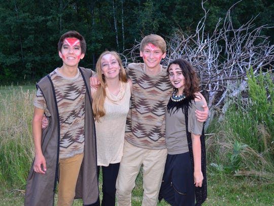 """From left: Liam Kinney as Mufasa, Saege Robinson as Sarabi, Hunter Groff as Adult Simba, and Sierra Aguiar as Scar in the Vermont Youth Dancers' """"Pride,"""" a full-length production based on the story of """"The Lion King."""""""