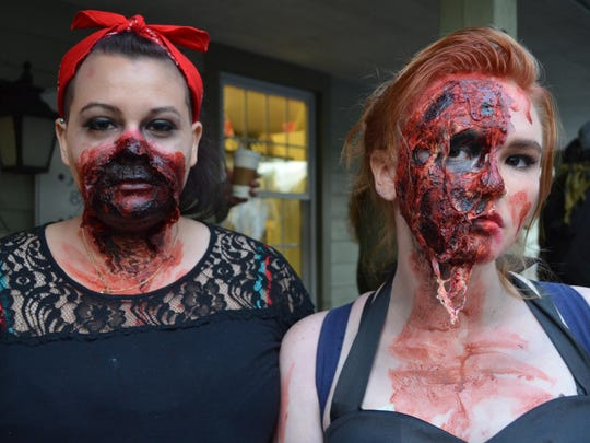 Andrea Hoffnagle and Morgan Bradshaw of Better Off Dead FX in Cape May wore detailed textured makeup for the Smithville Zombie Walk.