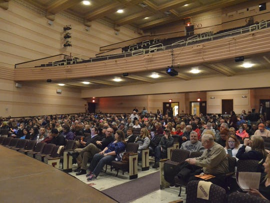 """About 500 people attended """"Chasing the Dragon: Life of an Opiate Addict"""" at the Mansfield Theater on Wednesday night."""