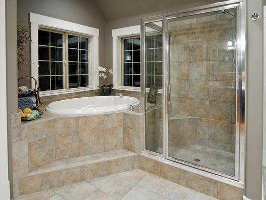Modern shower and SPA room made of stones and tiles
