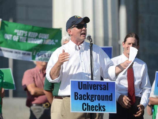 Vermont Senate Democratic leader Philip Baruth, who represents Chittenden County, speaks Aug. 4, 2016, at a rally for requiring background checks for nearly all gun sales.