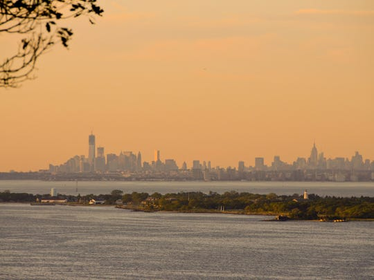 The view of the Manhattan skyline from the Mount Mitchill Overlook.