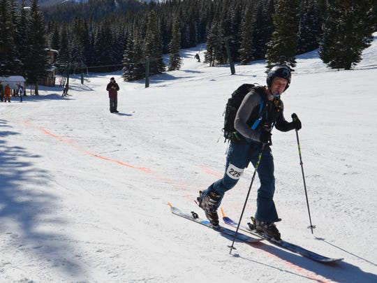 Luke Casey begins a climb during the Jack'n'Jill Randonee Race at Teton Pass Ski Resort. The race included 5,000 feet of climbing.