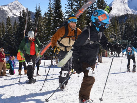 Racers take off from the starting line Saturday at the No Name Scramble at Teton Pass Ski Resort. The No Name Scramble was the shortest of three randonee races held at the ski area.