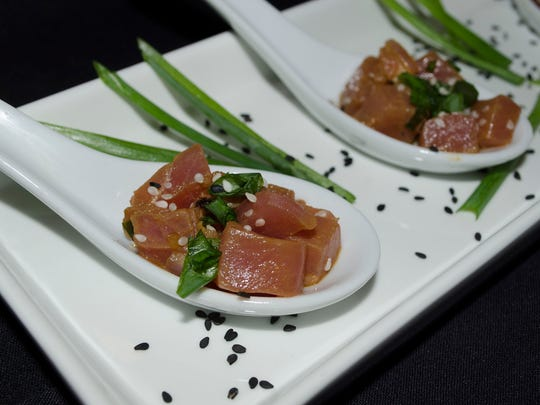 A spoonful of Ahi poke by Delaware Country Club.