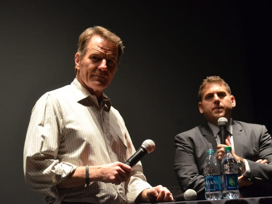 Bryan Cranston moderates a discussion with actor Jonah Hill at Cinemas Palme d'Or on Jan. 5.