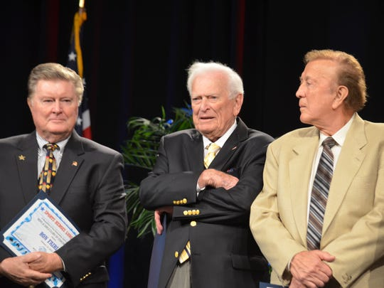 From left, former Major League Baseball player and broadcaster Ron Fairly, sportscaster Jack Whitaker and former Raiders coach Tom Flores at the Sports Heroes Luncheon, benefiting the Boys & Girls Club of Coachella Valley, at the Hyatt Regency Indian Wells Resort & Spa on Thursday.