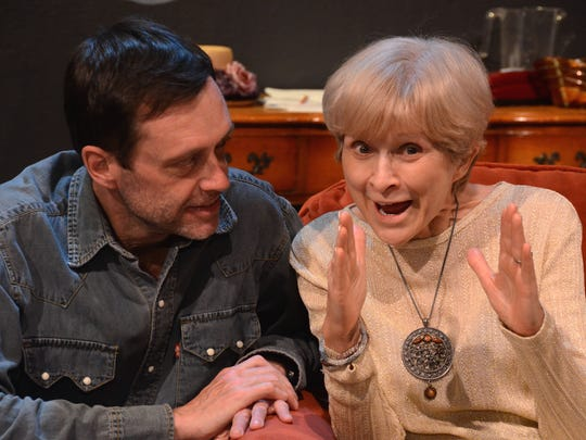 "Brad Allen and Judy Rollings play mother and son in Eric Coble's award-winning play, ""The Velocity of Autumn."""