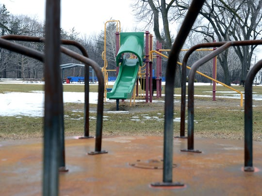 Playground equipment sits idle Sunday at Marysville City Park. The Marysville Recreation Board will meet to discuss whether to update the equipment.