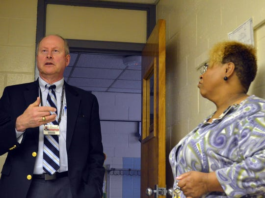 John Fredericksen, Wicomico County Public Schools superintendent, talks about issues West Salisbury Elementary School issues with school Principal Melva Wright on Wednesday.