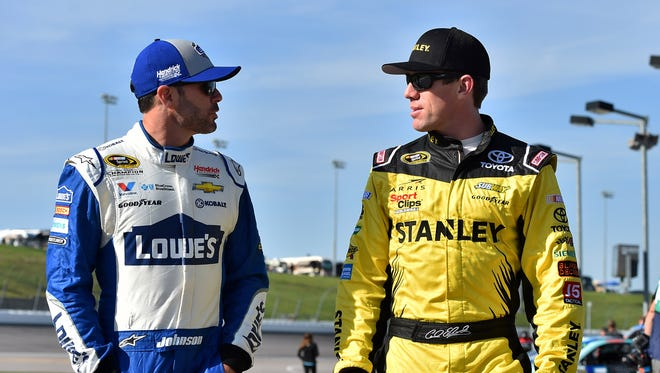 Jimmie Johnson, left,  Carl Edwards are two of the remaining eight Chase for the Sprint Cup drivers.