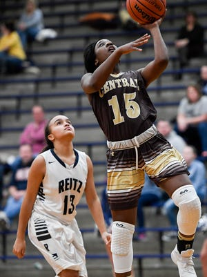 Central's Hya Haywood goes up for a layup in a game against Reitz during the 2016-17 season.