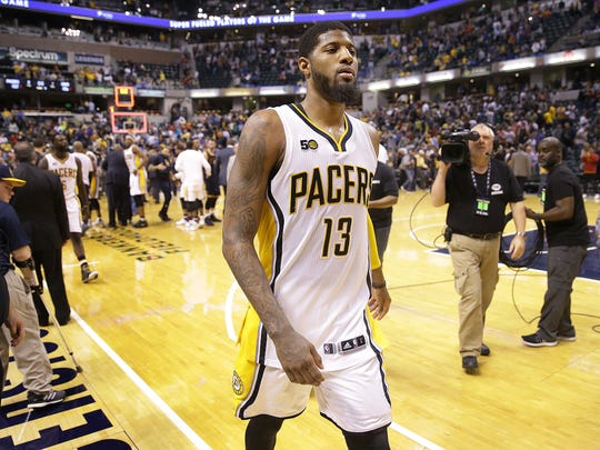 Indiana Pacers forward Paul George (13) walks off the court after the Pacers lost to the Cleveland Cavaliers Sunday, April 23, 2017, afternoon at Bankers Life Fieldhouse. The Pacers lost to the Cavaliers 106-102.