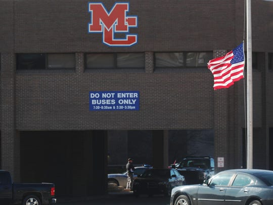 The American flag is flown at half staff at the Marshall