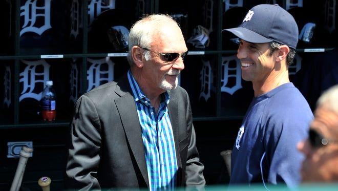 Former Tigers manager Jim Leyland, left, Ausmus share a laugh.