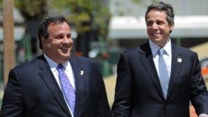 Gov. Chris Christie, left, and Gov. Andrew Cuomo.