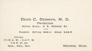 Business card for Monroe physician Dr. Dean Denman, who served Monroe citizens both at Mercy Hospital and in private practice from 1926 to 1943.