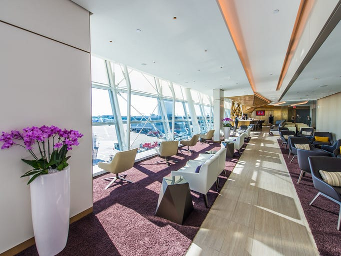An image of Etihad's new lounge at New York's JFK Airport.