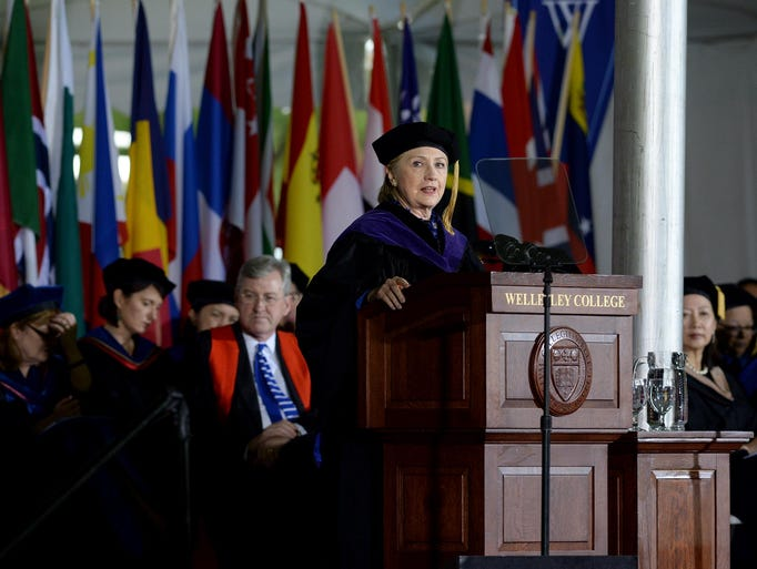 Clinton speaks at Wellesley College's commencement