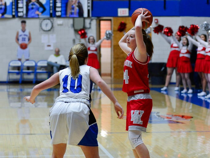 Action from the girl's sectional semi-final between
