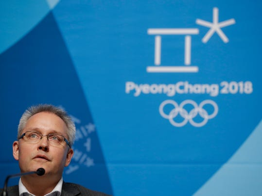 Matthieu Reeb, CAS Secretary General, speaks during a press conference about Russian athletes who are challenging the decisions taken by the Disciplinary Commission of the International Olympic Committee (IOC DC) ahead of the 2018 Winter Olympics in Pyeongchang, South Korea, Thursday, Feb. 1, 2018. (AP Photo/Felipe Dana)