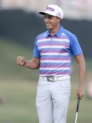 AP Rickie  Fowler Rickie Fowler pumps his fist after