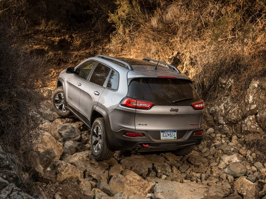 The Trailhawk's chunky 17-inch alloys are shod with chunky off-road tires.