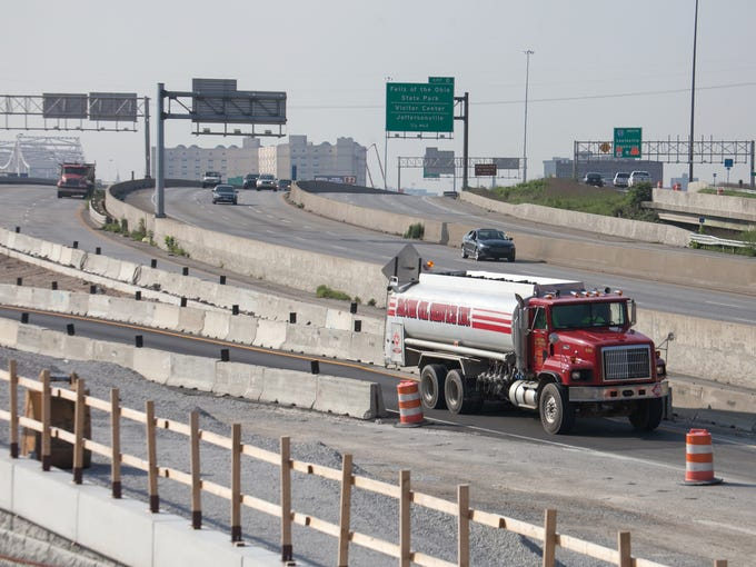 Interstate 65 lanes are reducing from three lanes to two lanes from the Kennedy Bridge to Stansifer Avenue which will increase traffic, something the bridges project is naming the 'Big Squeeze'. Aug., 25, 2014