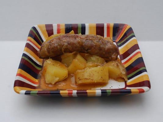 Beer-braised sausage and potatoes