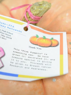 A sign attached to the stem of a pumpkin placed in the Cleveland Clinic office by Clyde FFA members on Thursday.