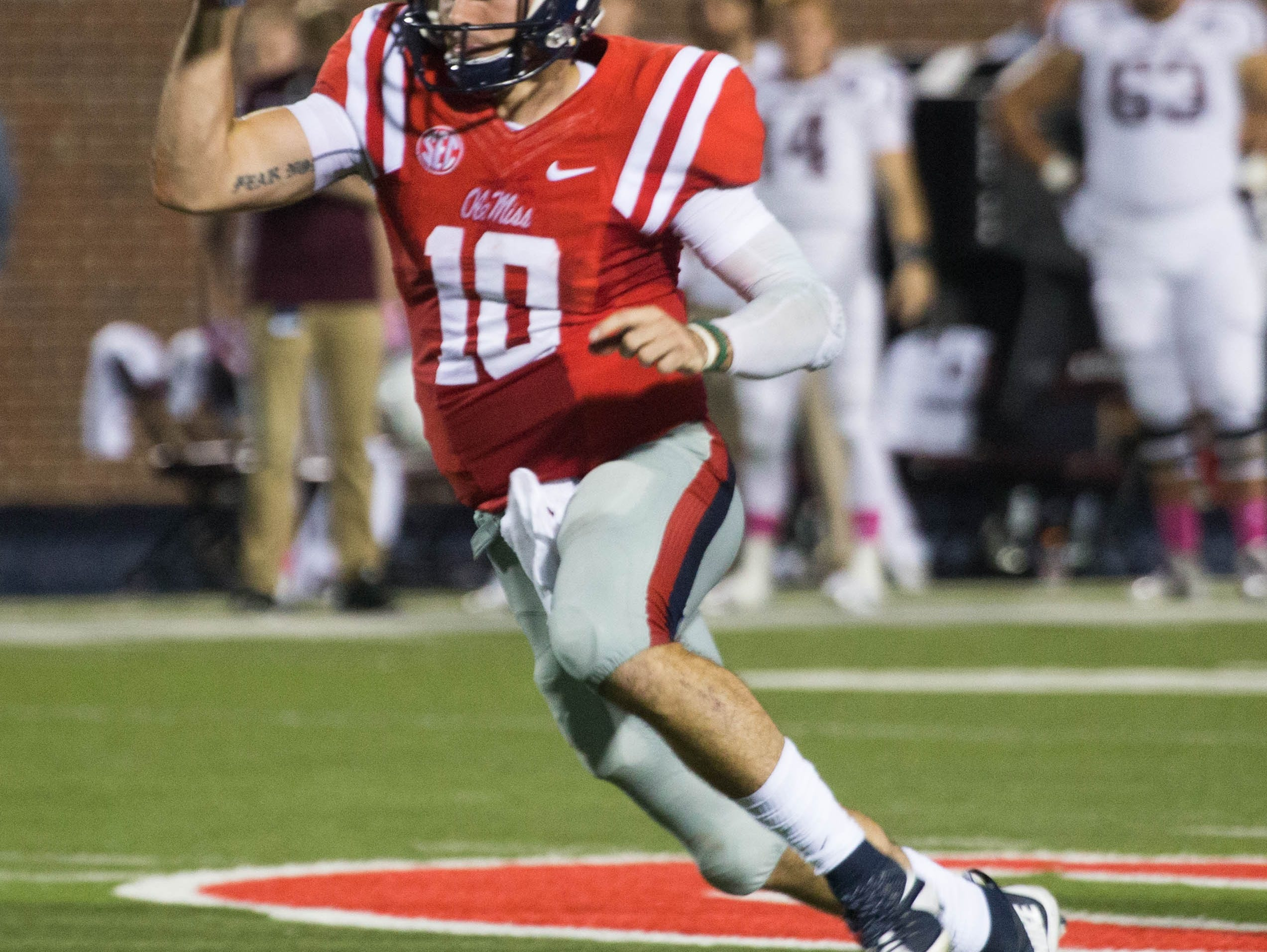 Chad Kelly was 14-20 with one interception in the first half Saturday night against Texas A&M.