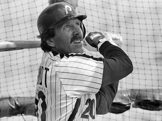 FILE - In this Feb. 23, 1984, file photo, Philadelphia Phillies' Mike Schmidt follows the flight of the ball as he takes batting practice during spring training baseball in Clearwater, Fla. This spring Schmidt learned that a slight upward swing plane is the optimum for creating productive contact. More simply put, hitters now want the ball in the air, not on the ground, he says. (AP Photo/Rusty Kennedy, File)