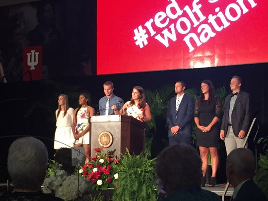 Indiana University East's seven All-Americans of the National Association of Intercollegiate Athletics (NAIA) took the stage to open a celebratory dinner Friday in the Student Events and Activities Center. The building was dedicated Friday afternoon.
