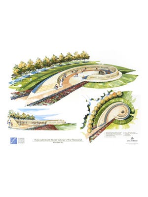 CSO Architects An illustration shows the proposed National Desert Storm War Memorial. National Desert Storm Veteran's War Memorial