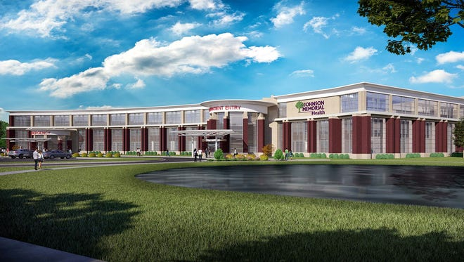 Rendering of the soon-to-be built outpatient building at Johnson Memorial Hospital in Franklin. The new building is expected to be completed in 2019.