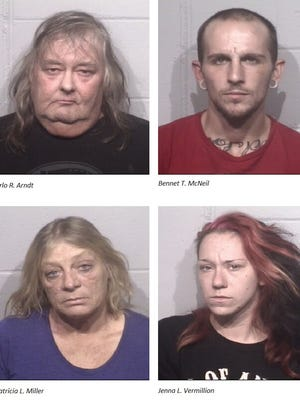 Clockwise from top left: Arno R. Arndt of Snow Hill,   26-year-old Bennett T. McNeil III of Ocean City, 24-year-old Jenna L. Vermillio and 52-year-old Patricia Miller of Bishopville were arrested in Ocean City after an illegal gun sale and tied to a number of vehicle break-ins on Worcester County.