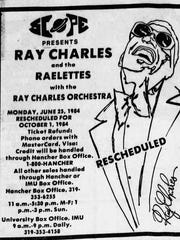 An advertisement for a 1984 Ray Charles concert  at