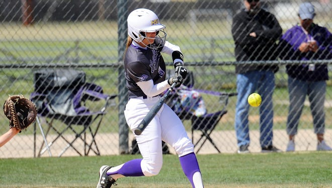 Hardin-Simmons shortstop Kirsten Kenyon (3) swings during the Cowgirls' 10-1, six-inning loss to Mary Hardin-Baylor at Ellis Field on Wednesday, March 21, 2018.