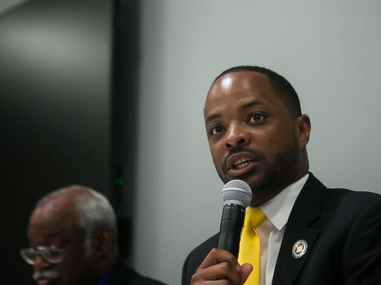Delaware  Democratic candidate for Senate District 2, Darius J. Brown speaks at a public debate at the Route 9 Library and Innovation Center in New Castle.