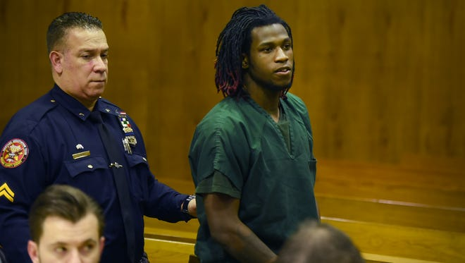 Najir Franklin, 19, exiting the courtroom in Paterson on Monday. He has been charged with murder in the death of 21-year-old Sean L. Brittingham Jr. in September.
