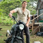 "Chris Pratt in a scene from the trailer for the motion picture ""Jurassic World."""