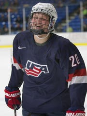 Casey Mittelstadt scored two goals for the Under-18 U.S. National Development team in a USHL game against Muskegon on March 31.